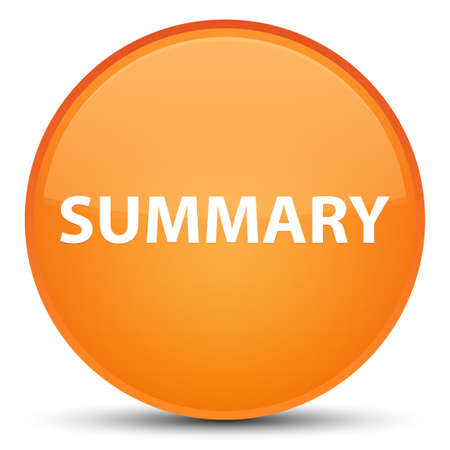 Summary isolated on special orange round button abstract illustration