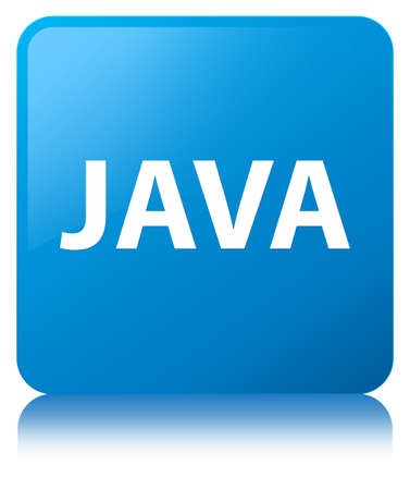 Java isolated on cyan blue square button reflected abstract illustration