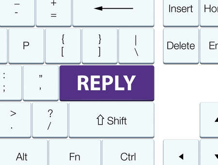 Reply isolated on purple keyboard button abstract illustration