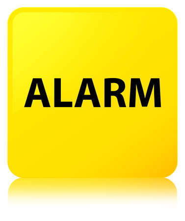 reminder: Alarm isolated on yellow square button reflected abstract illustration