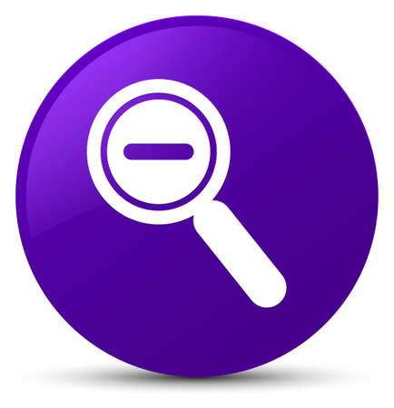 Zoom out icon isolated on purple round button abstract illustration Фото со стока