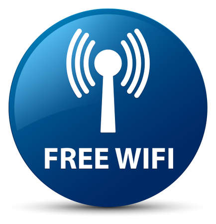 Wifi gratuit (réseau WLAN) isolé sur illustration abstraite du bouton rond bleu Banque d'images - 88978186