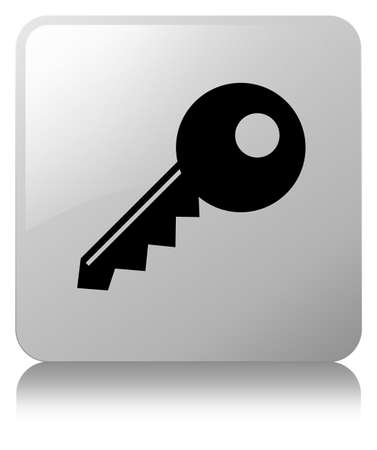 Key icon isolated on white square button reflected abstract illustration Stock Photo