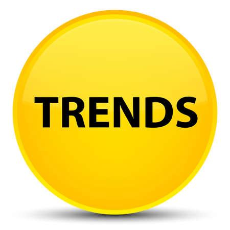 Trends lokalisiert auf spezieller gelber runder Knopfzusammenfassungsillustration Standard-Bild