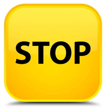 Stop isolated on special yellow square button abstract illustration Stock Photo