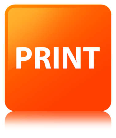 Print isolated on orange square button reflected abstract illustration