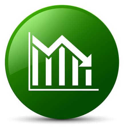 Statistics down icon isolated on green round button abstract illustration