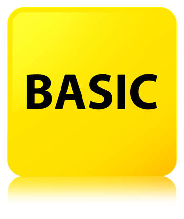 Basic isolated on yellow square button reflected abstract illustration