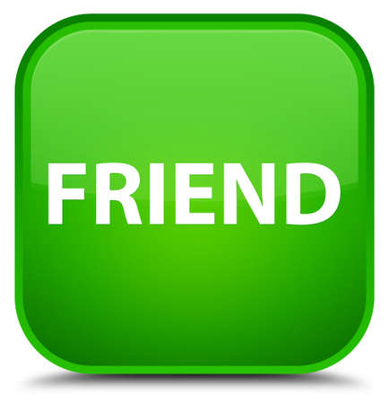 pals: Friend isolated on special green square button abstract illustration