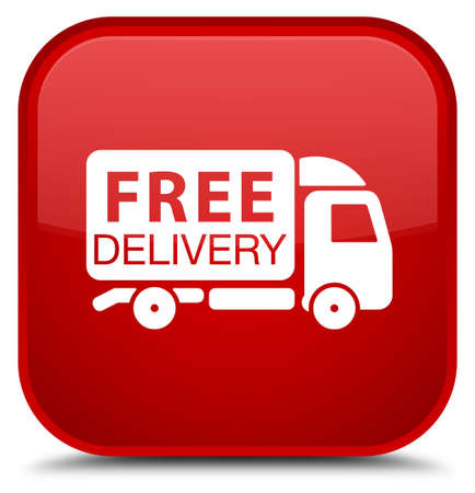 Free delivery truck icon isolated on special red square button abstract illustration