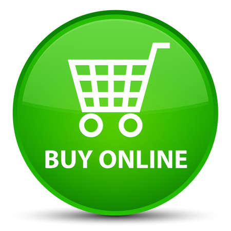 Buy online isolated on special green round button abstract illustration