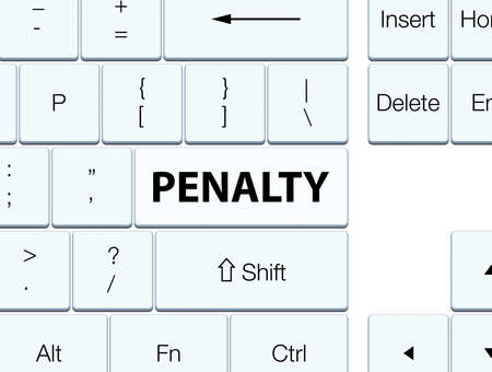 Penalty isolated on white keyboard button abstract illustration Stock Photo