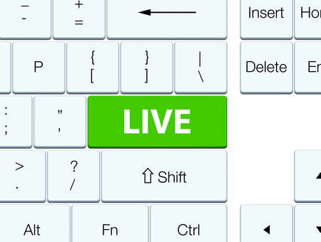 Live isolated on soft green keyboard button abstract illustration