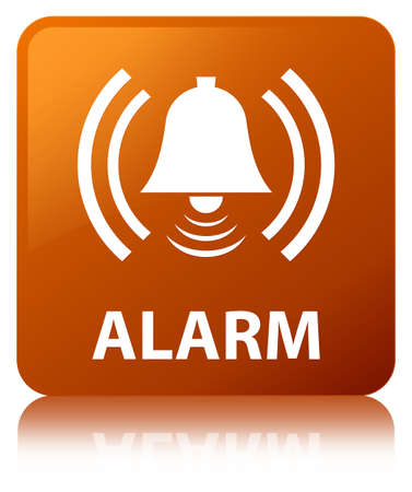 Alarm (bell icon) isolated on brown square button reflected abstract illustration