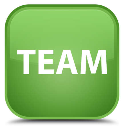 troupe: Team isolated on special soft green square button abstract illustration