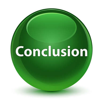 Conclusie op glazige zachte groene ronde knoop abstracte illustratie die wordt geïsoleerd