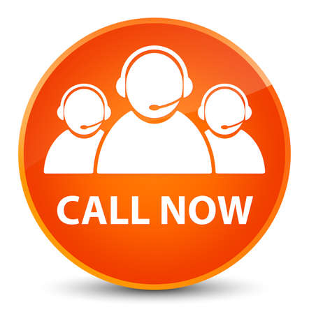 Call now (customer care team icon) isolated on elegant orange round button abstract illustration