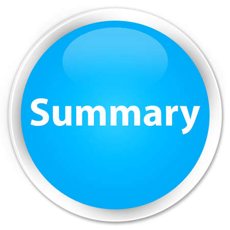 Summary isolated on premium cyan blue round button abstract illustration Stok Fotoğraf
