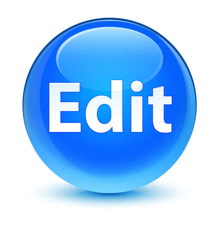 Edit isolated on glassy cyan blue round button abstract illustration