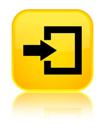 Login icon isolated on special yellow square button reflected abstract illustration