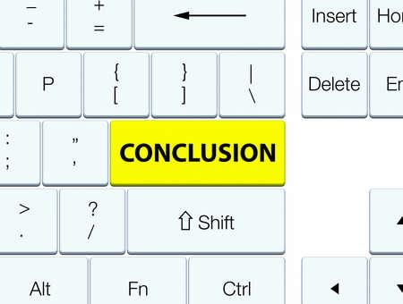 Conclusie op de gele abstracte illustratie die van de toetsenbordknoop wordt geïsoleerd Stockfoto