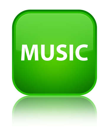 Music isolated on special green square button reflected abstract illustration