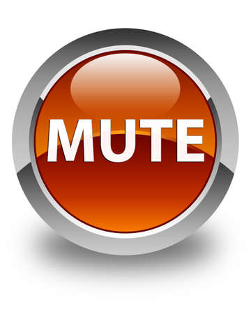 Mute isolated on glossy brown round button abstract illustration