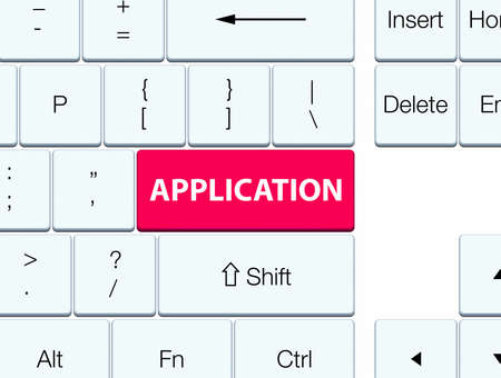Application isolated on pink keyboard button abstract illustration Stock Photo