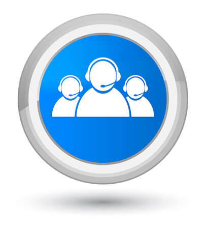 Customer care team icon isolated on prime cyan blue round button abstract illustration