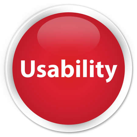 Usability isolated on premium red round button abstract illustration