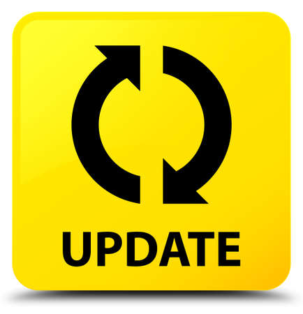 Update isolated on yellow square button abstract illustration