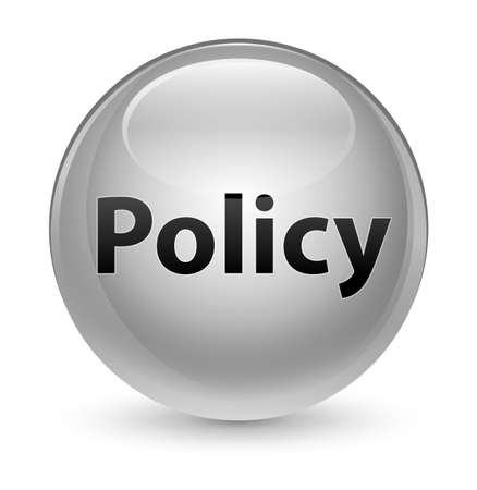 Policy isolated on glassy white round button abstract illustration