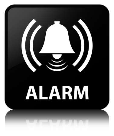 Alarm (bell icon) isolated on black square button reflected abstract illustration Stock Photo