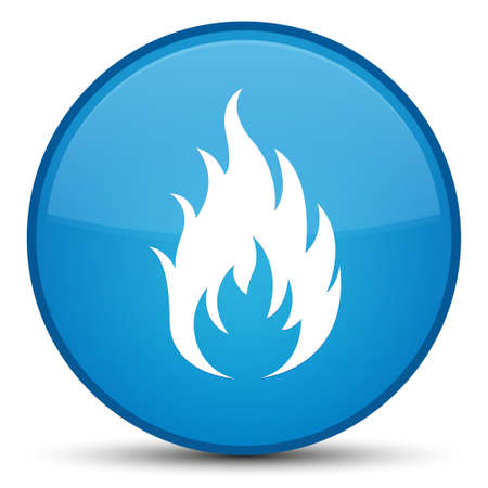 Fire icon isolated on special cyan blue round button abstract illustration