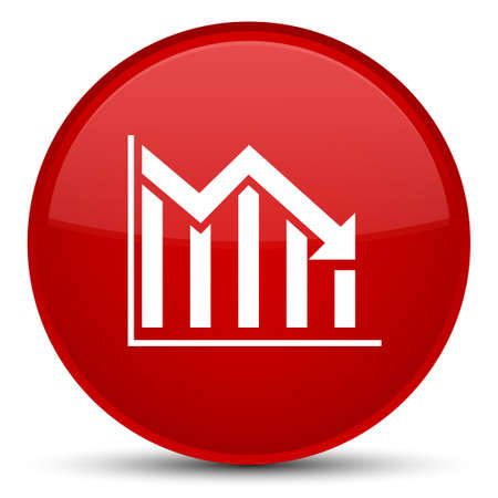 Statistics down icon isolated on special red round button abstract illustration Reklamní fotografie