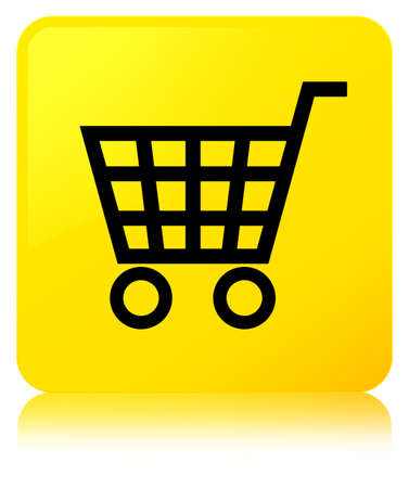 E-commerce icon isolated on yellow square button reflected abstract illustration Stock Photo