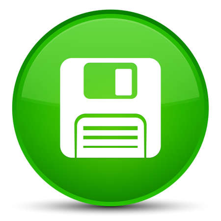 Floppy disk icon isolated on special green round button abstract illustration Stock Photo