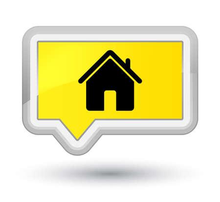 プライムの黄色いバナー ボタン抽象的なイラストに分離されたホームのアイコン 写真素材