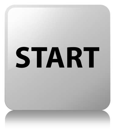 Start isolated on white square button reflected abstract illustration