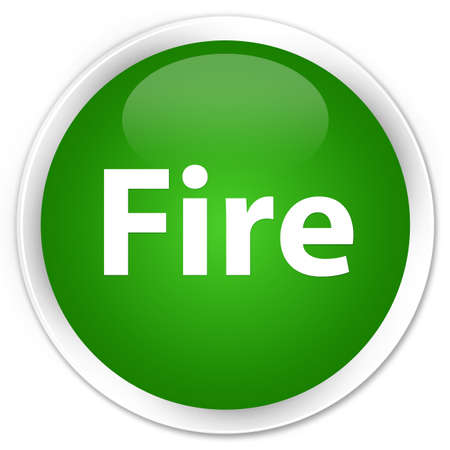 Fire isolated on premium green round button abstract illustration