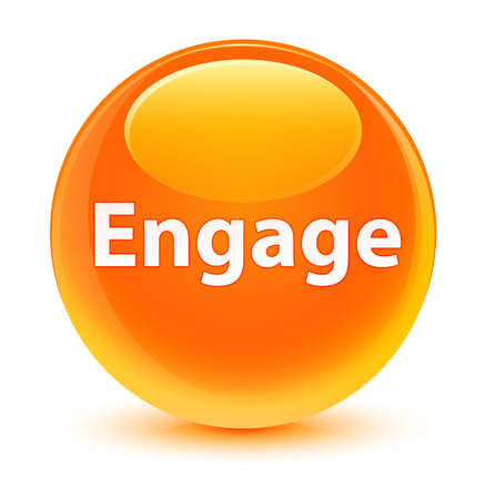 Engage isolated on glassy orange round button abstract illustration Banco de Imagens