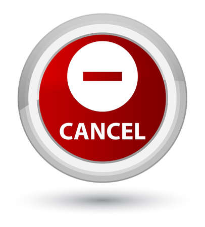 Cancel isolated on prime red round button abstract illustration Stock Photo