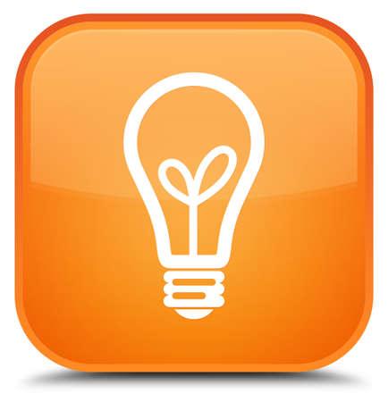 특별 한 오렌지 사각형 단추 추상적 인 그림에 절연 전구 아이콘