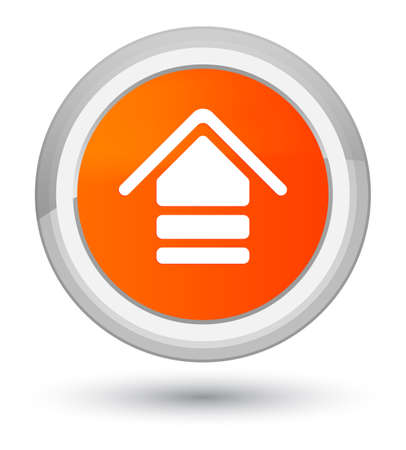 Upload icon isolated on prime orange round button abstract illustration