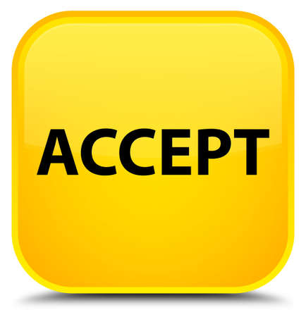 Accept isolated on special yellow square button abstract illustration Stock Photo