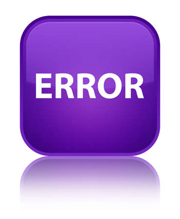 Error isolated on special purple square button reflected abstract illustration Stock Photo