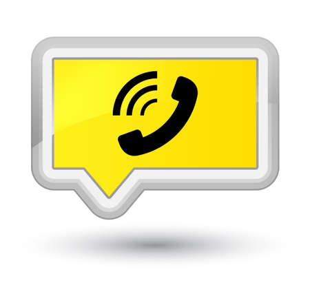 Phone ringing icon isolated on prime yellow banner button abstract illustration