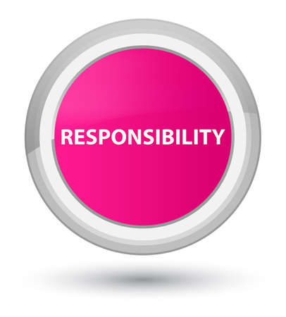 Verantwoordelijkheid op eerste roze ronde knoop abstracte illustratie die wordt geïsoleerd
