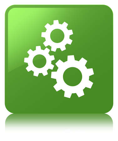 Gears icon isolated on soft green square button reflected abstract illustration