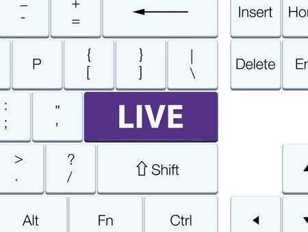 Live isolated on purple keyboard button abstract illustration